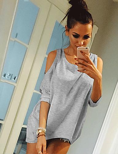 billige Dametopper-T-skjorte Dame - Ensfarget, Lapper Grunnleggende Hvit Svart