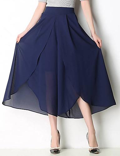 abordables Pantalons Femme-Femme Chic de Rue Ample Pantalon - Couleur Pleine Mousseline de Soie Taille haute Noir Bleu Marine Vin L XL XXL