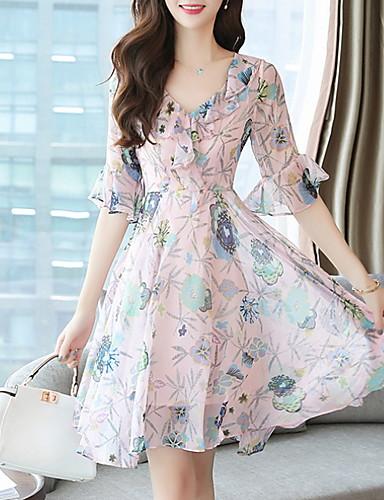 Kadın's Temel A Şekilli Elbise - Çiçekli, Desen Midi