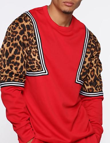 billige Hættetrøjer og sweatshirts til herrer-Herre Afslappet Rund hals Sweatshirt - Leopard
