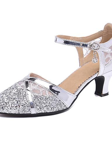 povoljno Cipele za ples-Žene Plesne cipele Sintetika Moderna obuća Štikle Kubanska potpetica Moguće personalizirati Zlato / Crn / Srebro / Seksi blagdanski kostimi