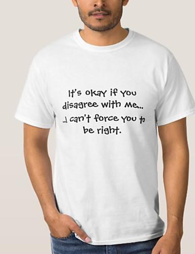 billige T-shirts og undertrøjer til herrer-Rund hals Herre - Bogstaver Basale Plusstørrelser T-shirt Sort