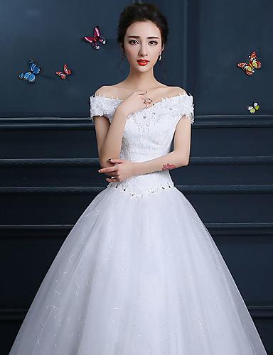 abordables Robes de Mariée 2019-Trompette / Sirène Epaules Dénudées Longueur Sol Dentelle Robes de mariée sur mesure avec par