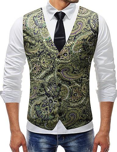 voordelige Herenblazers & kostuums-Heren Grote maten Vest, Geometrisch V-hals Polyester Goud / Slank