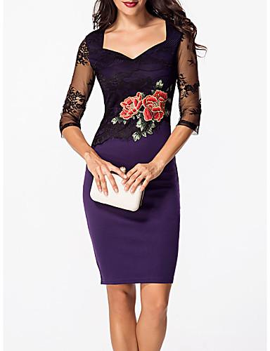 رخيصةأون فساتين للنساء-فستان نسائي ضيق راقي مطرز طول الركبة روز هندسي