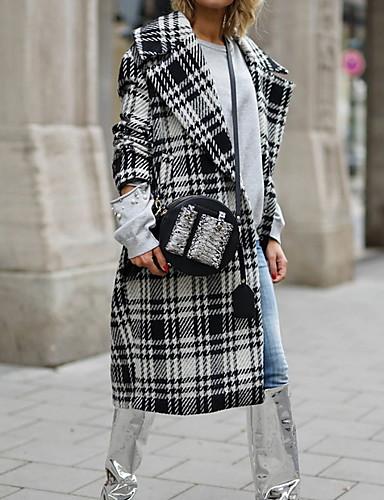 abordables Manteaux & Vestes Femme-Femme Quotidien Automne hiver Longue Manteau, Tartan Revers Cranté Manches Longues Polyester Noir