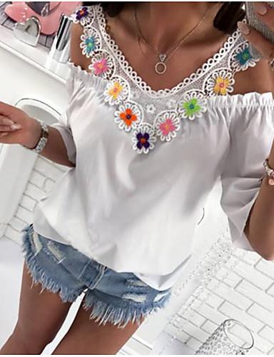 Kadın's Tişört Solid Temel Beyaz