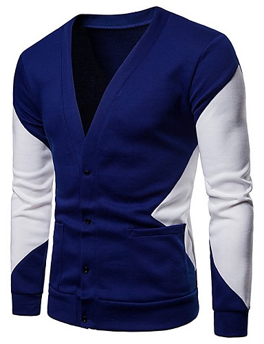 Erkek Zıt Renkli Uzun Kollu Kazak, V Yaka Siyah / Koyu Mavi US32 / UK32 / EU40 / US34 / UK34 / EU42 / US38 / UK38 / EU46