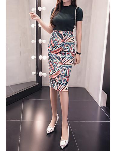 abordables Jupes-Femme Moulante Jupes - Fleur Imprimé Arc-en-ciel S M L