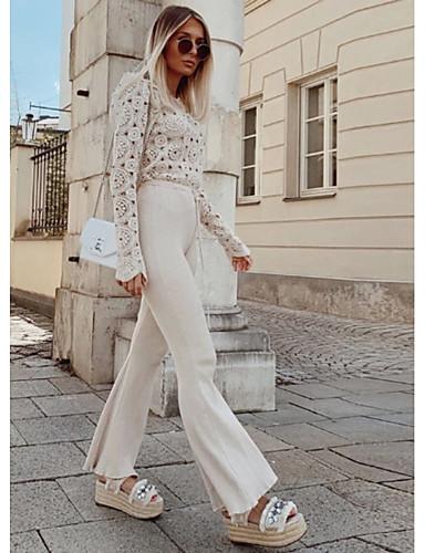 billige Dametopper-Skjorte Dame - Ensfarget, Lace Trim Vintage Hvit