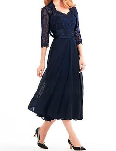 voordelige Wrap Dresses-A-lijn / Tweedelig V-hals Over de knie Chiffon / Kant Bruidsmoederjurken met Appliqués / Sjerp / Lint door LAN TING Express / Wrap inbegrepen