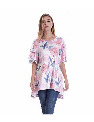 billige Topper til damer-T-skjorte Dame - Ensfarget / Geometrisk, Jacquard / Trykt mønster Bohem Solblomst Regnbue