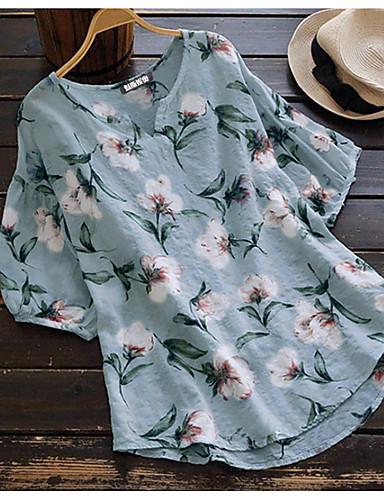 billige Topper til damer-Skjorte Dame - Blomstret, Trykt mønster Grunnleggende Lyseblå