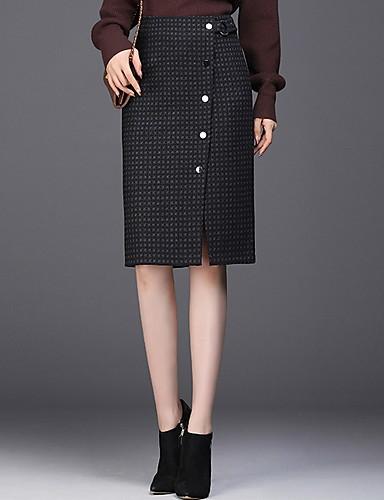 abordables Jupes-Femme Basique Crochet Jupes - Pied-de-poule Noir XXL XXXL XXL