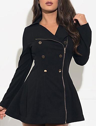 abordables Manteaux & Vestes Femme-Femme Quotidien Automne hiver Longue Manteau, Couleur Pleine Col roulé Manches Longues Polyester Noir