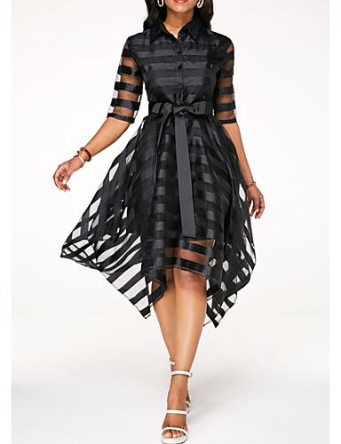 billige Kjoler-Dame Elegant A-linje Kjole - Ensfarget Asymmetrisk