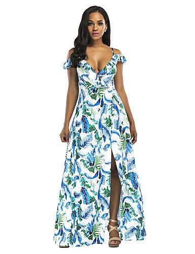 abordables Robes Femme-Femme Elégant Asymétrique Trapèze Courte Robe Fleur Géométrique Bleu & blanc Blanche Bleu Roi S M L Sans Manches