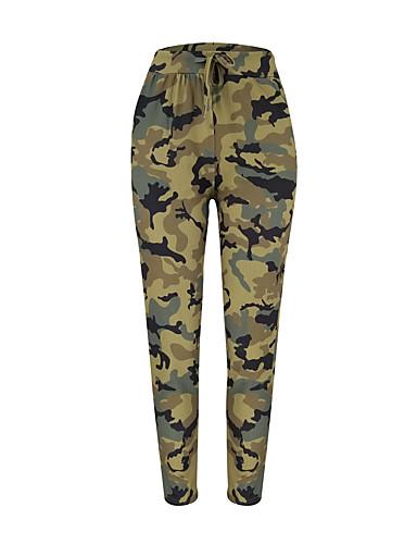 abordables Pantalons Femme-Femme Sportif Chino Pantalon - Camouflage Vert Véronèse Bleu Rouge S M L