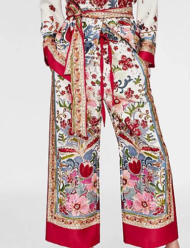 abordables Pantalons Femme-Femme Basique Ample Pantalon - Fleur Imprimé Rouge S M L