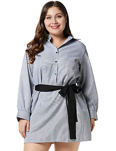 voordelige Grote maten jurken-Dames Overhemd Jurk - Effen Tot de knie