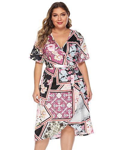 abordables Robes Femme-Femme Rétro Vintage Asymétrique Gaine Robe - Imprimé, Fleur Rose Claire L XL XXL Demi Manches