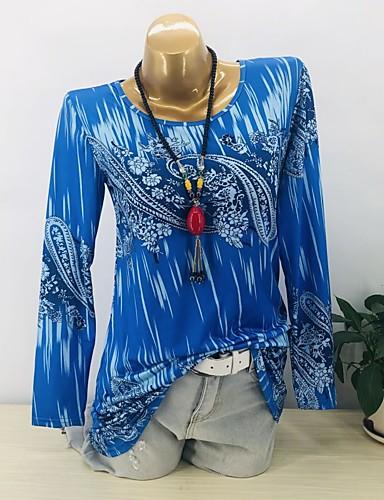 billige Dametopper-T-skjorte Dame - Geometrisk, Lapper / Trykt mønster Grunnleggende Blå / Rød Vin