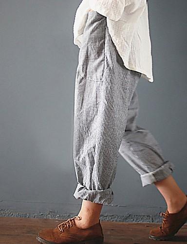 abordables Pantalons Femme-Femme Basique Sarouel Pantalon - Rayé Noir Bleu Gris S M L