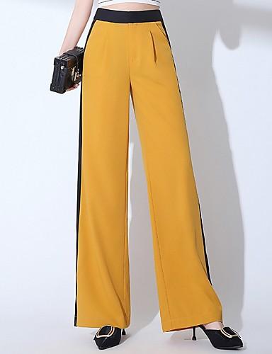 abordables Pantalons Femme-Femme Chic de Rue Ample Pantalon - Couleur Pleine Jaune M L XL