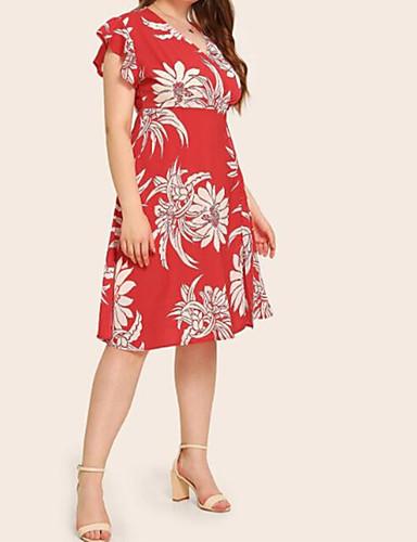 voordelige Grote maten jurken-Dames Standaard Boho Skater Jurk - Bloemen, Ruche Tot de knie Tropisch blad
