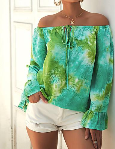 billige Dametopper-T-skjorte Dame - Geometrisk / Regnbue Gul