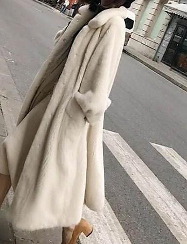 رخيصةأون فرو نسائي و جلد-نسائي مناسب للبس اليومي طويلة معطف من الفرو الصناعي, لون سادة طوي كم طويل فرو أسود / أبيض