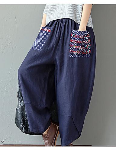 abordables Pantalons Femme-Femme Basique Ample Pantalon - Fleur Vert Véronèse Rouge Bleu Marine M L XL