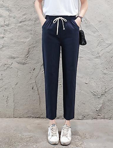 abordables Pantalons Femme-Femme Basique Sarouel Pantalon - Couleur Pleine Bleu Marine Kaki Gris Clair L XL XXL