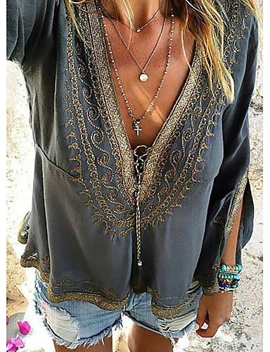 Majica s rukavima Žene - Ulični šik Dnevni Nosite Jednobojni Tamno siva