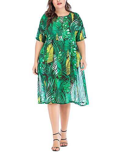 abordables Robes Femme-Femme Basique Mi-long Courte Robe Géométrique Vert XXXL XXXXL XXXXXL Manches Courtes