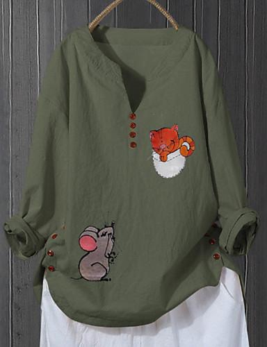 billige Topper til damer-Skjorte Dame - Geometrisk, Trykt mønster Grunnleggende Rosa