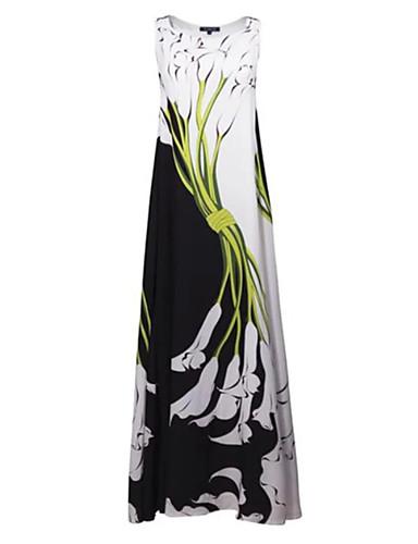 voordelige Maxi-jurken-Dames Street chic Recht Jurk - Bloemen, Print Maxi