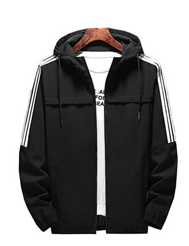 Erkek Günlük / Dışarı Çıkma Actif İlkbahar & Kış / İlkbahar yaz Normal Ceketler, Solid / Çizgili Dik Yaka Uzun Kollu Suni İpek / Polyester Siyah / Ordu Yeşili / Havuz US32 / UK32 / EU40 / US34 / UK34