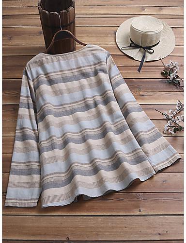 billige Topper til damer-Skjorte Dame - Stripet, Lapper / Jacquard Grunnleggende Kirsebær Hvit