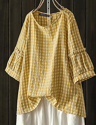 billige Dametopper-Bluse Dame - Ruter, Trykt mønster Vintage Svart