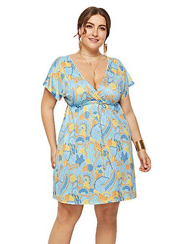 voordelige Grote maten jurken-Dames Boho A-lijn Jurk - Geometrisch Tribal, Blote rug Print Boven de knie
