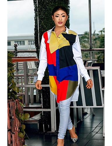 billige Kjoler-Dame Grunnleggende Skjorte Kjole - Geometrisk Mini