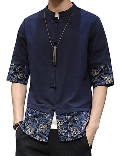 voordelige Herenoverhemden-Heren Vintage / Elegant Overhemd Effen / Kleurenblok / Paisley Zwart