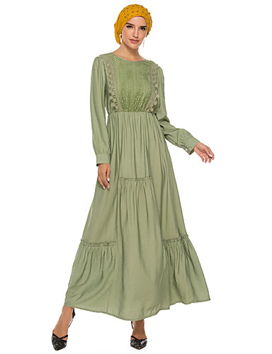 voordelige Maxi-jurken-Dames Street chic Elegant Schede Kaftan Jurk - Effen, Geplooid Patchwork Maxi