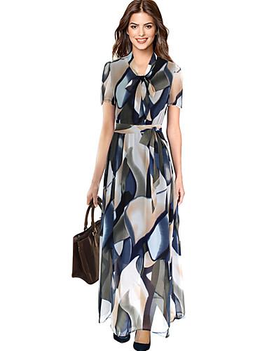 voordelige Maxi-jurken-Dames Verfijnd Elegant Recht Jurk - Bloemen Geometrisch, Print Maxi