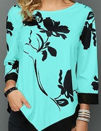 billige Topper til damer-T-skjorte Dame - Blomstret, Trykt mønster Svart