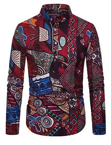voordelige Herenoverhemden-Heren Street chic Print Overhemd Geometrisch / Tribal Rood