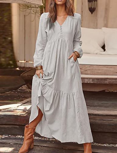 voordelige Maxi-jurken-Dames Vintage Recht Jurk - Effen Maxi