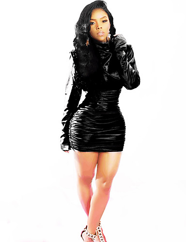 abordables Robes Femme-Femme Basique Chic de Rue Au dessus du genou Gaine Robe Couleur Pleine Noir S M L Manches Longues