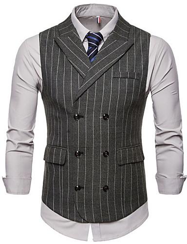 voordelige Herenblazers & kostuums-Heren Vest, Gestreept Ingesneden revers Polyester Leger Groen / Bruin / Donkergrijs